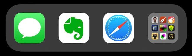 Un dossier dans le Dock iOS.