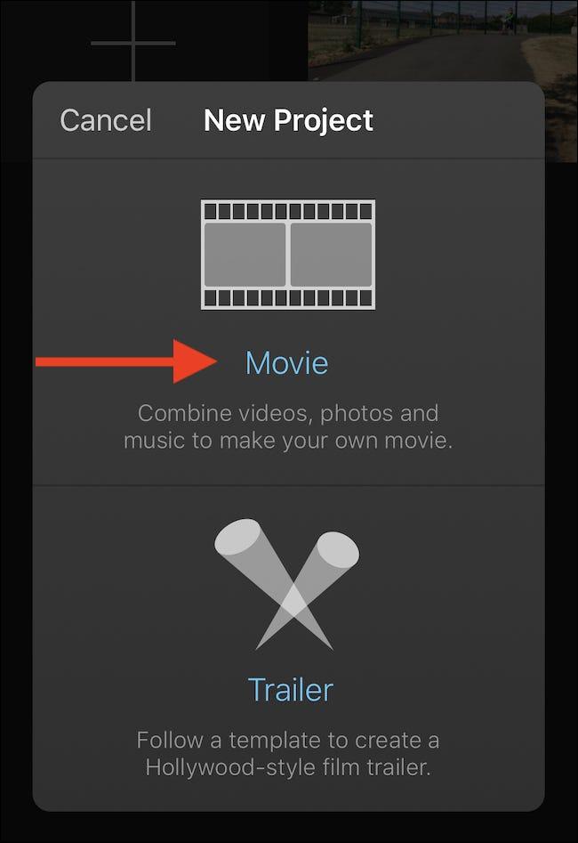 """Appuyez sur 'Film"""" pour créer un nouveau projet de film."""