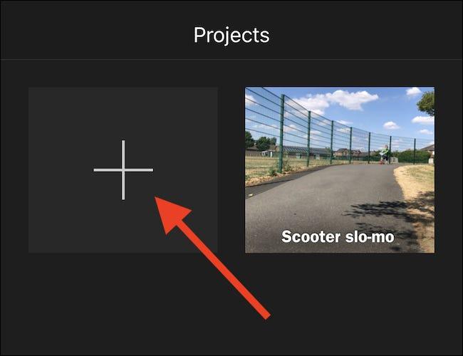 """Appuyez sur le grand """"+"""" bouton pour créer un nouveau projet."""