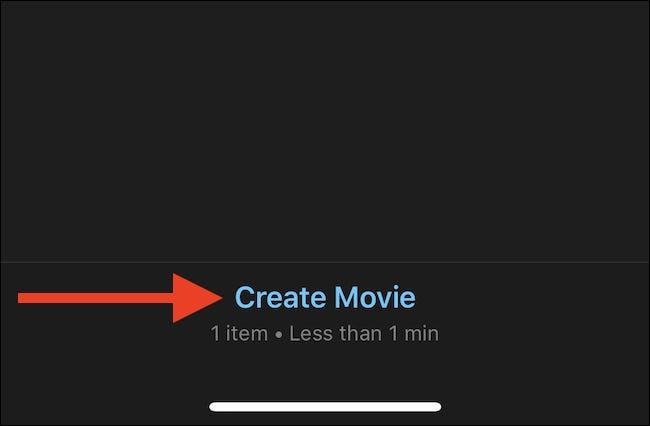 Appuyez sur créer un film