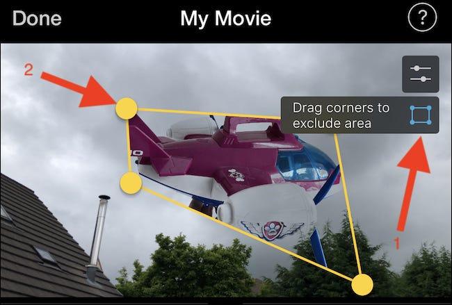 Appuyez sur le bouton de recadrage et faites glisser les coins pour recadrer l'image ou la vidéo
