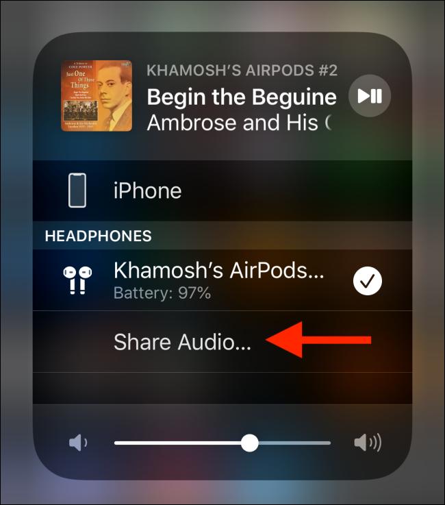 Appuyez sur le bouton Partager l'audio