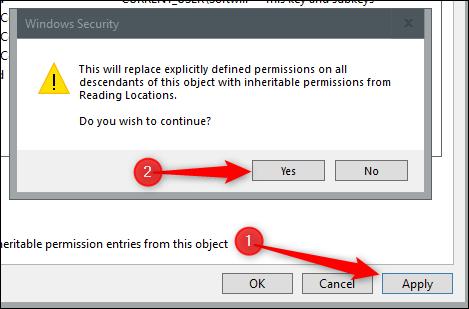 """Cliquez sur """"Appliquer,"""" lisez le message de sécurité, puis cliquez sur """"Oui."""""""