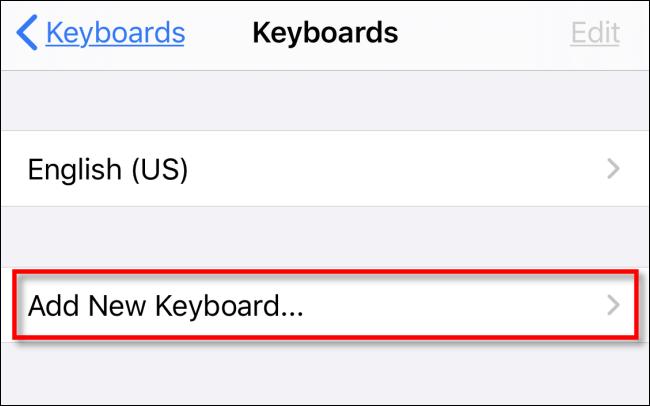 Appuyez sur Ajouter un nouveau clavier dans les paramètres de l'iPhone