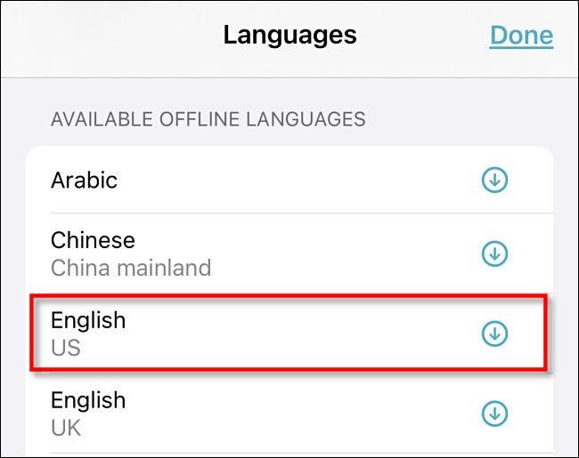 """Appuyez sur une langue dans le """"Langues hors ligne disponibles"""" section."""