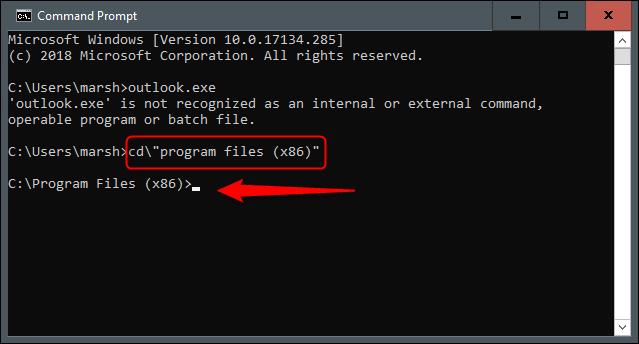Fichiers programme dans l'invite de commandes