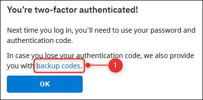 Le lien pour obtenir les codes de sauvegarde.