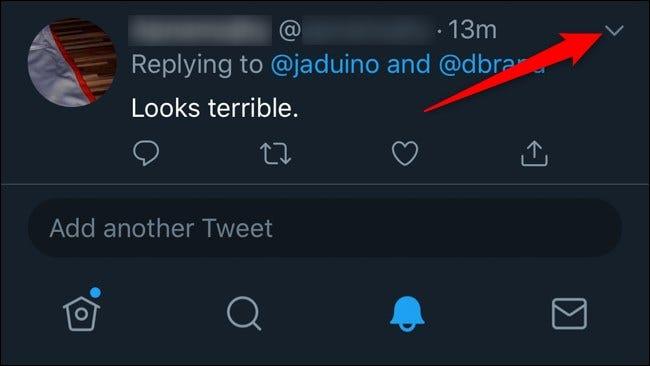 Twitter Mobile Masquer les réponses Cliquez sur la flèche vers le bas