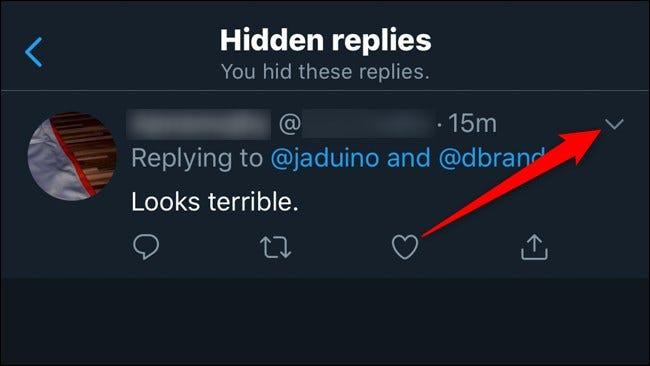 Twitter Mobile Afficher les réponses Cliquez sur la flèche vers le bas