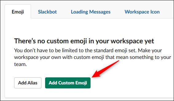 """le """"Ajouter un emoji personnalisé"""" bouton."""