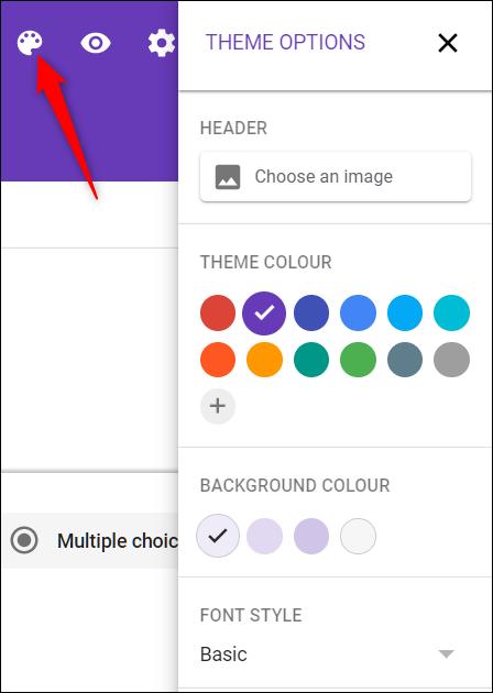 Personnalisez le thème pour qu'il corresponde à votre site Web avec l'icône de la palette.