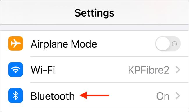 Sélectionnez Bluetooth dans les paramètres