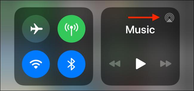 Appuyez sur le bouton AirPlay dans le centre de contrôle