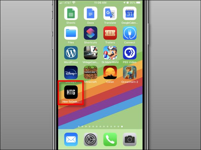Raccourci Web ajouté à l'écran d'accueil sur iPhone