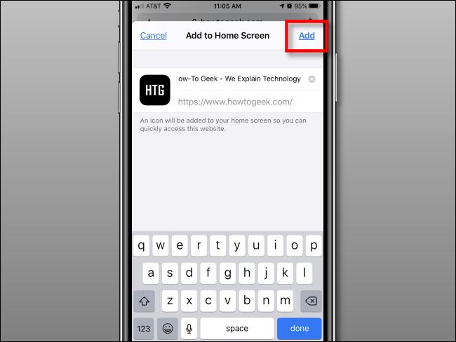 Appuyez sur Ajouter pour ajouter l'icône à l'écran d'accueil sur iPhone