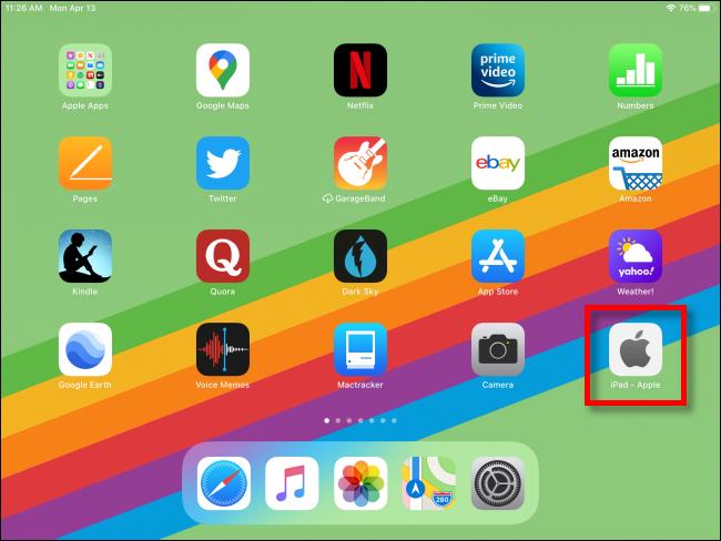 iPad avec raccourci Web sur l'écran d'accueil