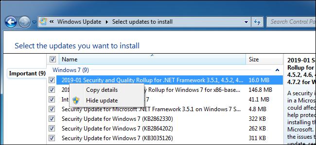 Masquer une mise à jour dans Windows Update sur Windows 7