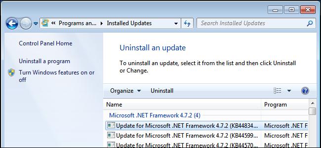 Désinstallation d'une mise à jour Windows sur Windows 7