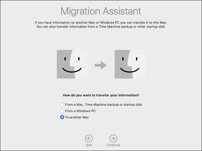 """Sélectionner """"Vers un autre Mac"""" dans l'assistant de migration."""