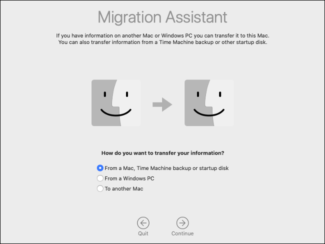 Le volet de l'assistant de migration macOS.