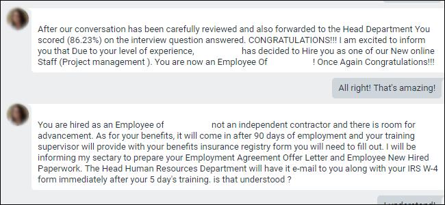 """Google Hangouts indiquant que l'employé a été """"embauché"""" pour arnaque."""