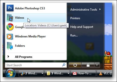 Dossier du menu Démarrer épinglé sous Windows Vista