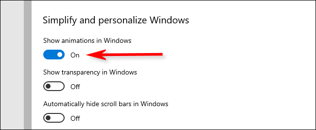 "Désactiver le ""Afficher les animations dans Windows"" option."