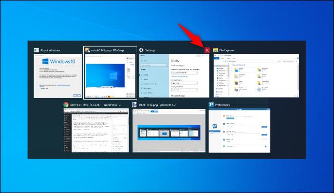Cliquez sur le X rouge pour fermer une fenêtre dans le sélecteur Alt + Tab de Windows 10.