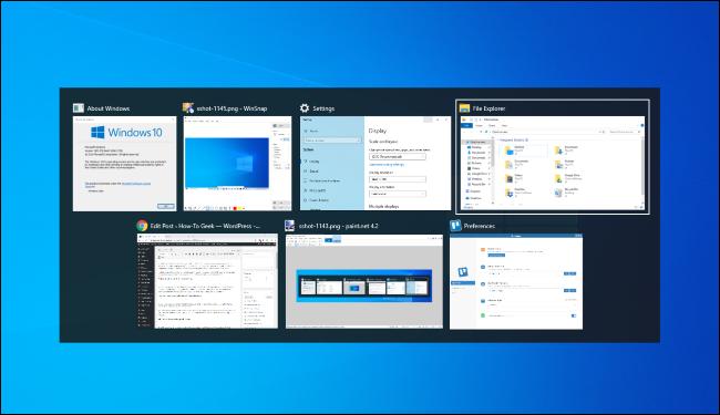 Basculer entre les fenêtres avec Alt + Tab sous Windows 10.