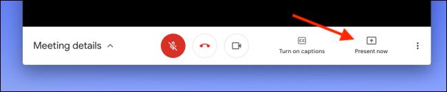 """Cliquez sur """"Présentez maintenant"""" dans Google Meet pour partager votre écran ou votre fenêtre."""