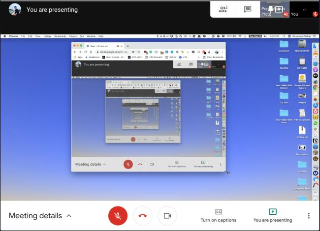 Un écran partagé dans Google Meet.