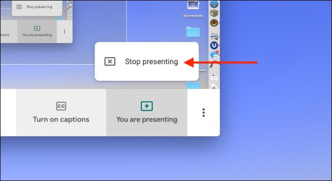 """Cliquez sur """"Arrêter de présenter"""" pour arrêter de partager votre écran."""