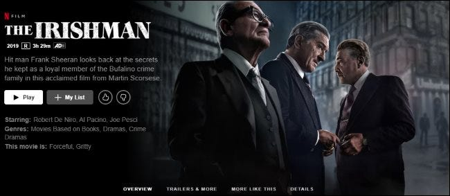 L'Irlandais sur Netflix