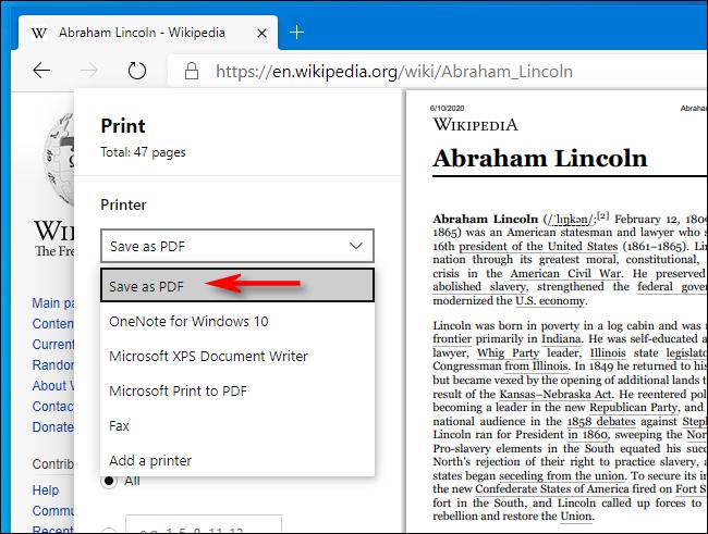 Sélectionnez Enregistrer au format PDF dans la fenêtre d'impression dans Microsoft Edge