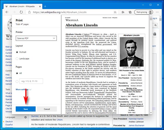 Cliquez sur Enregistrer dans la fenêtre d'impression de Microsoft Edge