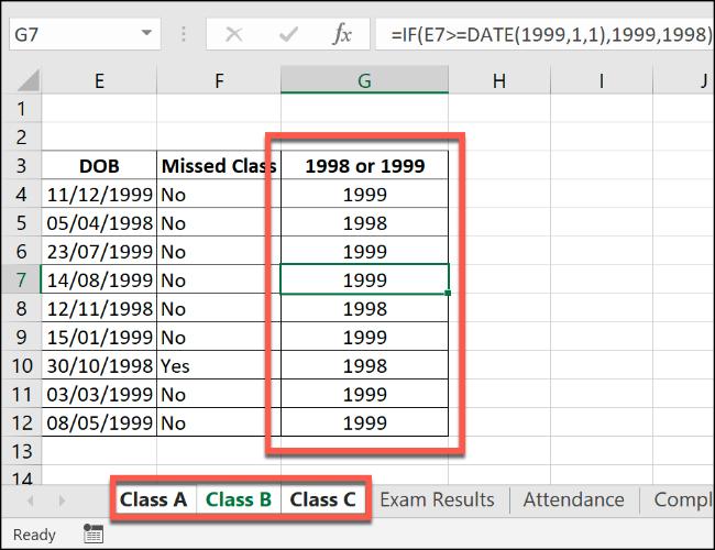 Une formule Excel IF, appliquée à plusieurs feuilles de calcul groupées.
