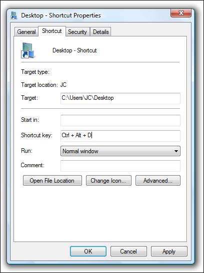 Raccourci clavier personnalisé pour ouvrir le dossier du bureau
