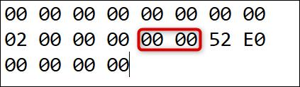"""Le code de numérisation vers la clé sur laquelle nous remappons Insertion: """"00 00."""""""