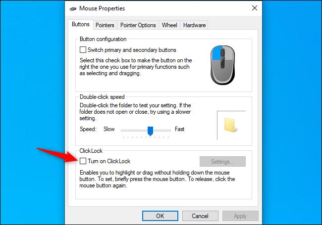 Désactivation de l'option ClickLock sous Windows