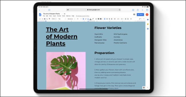 Google Docs dans Safari sur un iPad