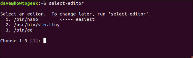 commande select-editor