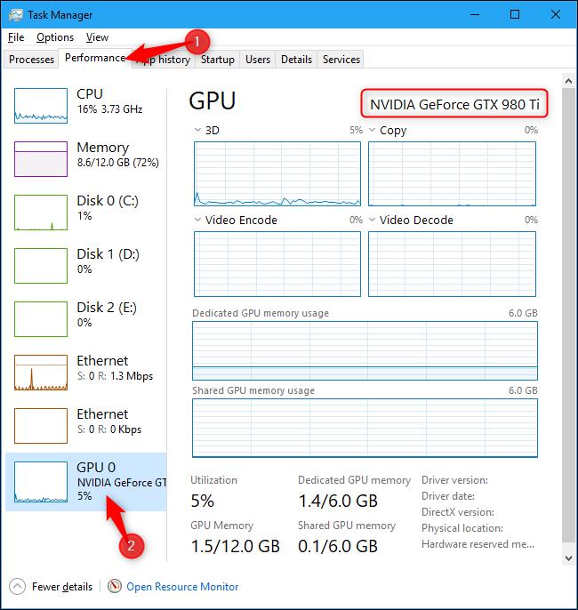 Nom du GPU de l'ordinateur affiché dans le Gestionnaire des tâches de Windows 10