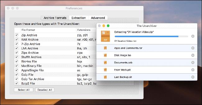 Le Unarchiver extrait un fichier ZIP sur un Mac.