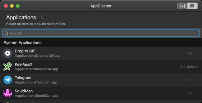 Une liste d'applications dans AppCleaner sur un Mac.