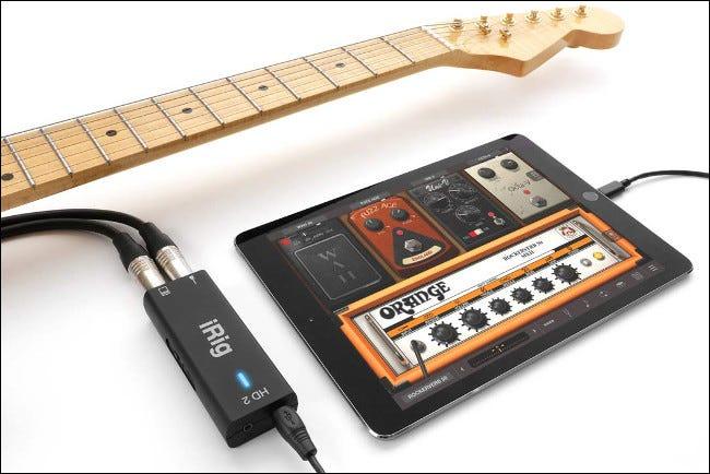 Guitare connectée à iRig HD2 et à un iPad