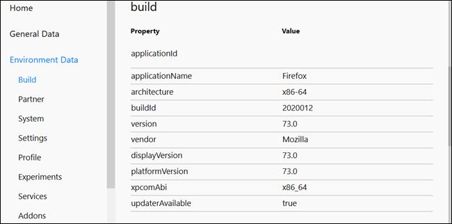 Construisez les informations relatives à la machine exécutant Firefox.