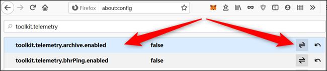 Double-cliquez sur la préférence ou cliquez sur la flèche à droite pour modifier la valeur de chacun.