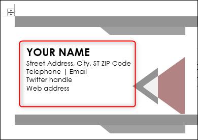 Entrez les informations dans le modèle de carte de visite