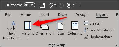 Sélectionnez les marges dans le groupe de mise en page