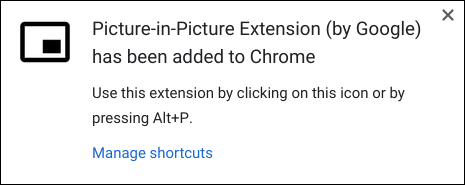 La notification indiquant que l'extension a été installée avec succès sur Chrome.